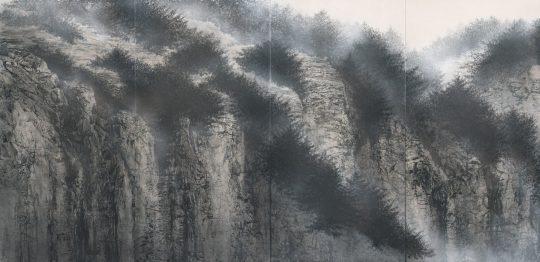 "Fusuma Paintings for Kongobuji Temple, Koyasan ""Cliff"" (part) 2018"